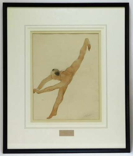 Auguste Rodin Nude Figure Watercolor Painting