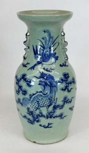 Chinese Blue & White Porcelain Qilin Phoenix Vase