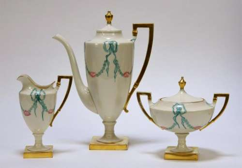 3PC American Belleek Porcelain Coffee Service Set