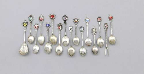 Compilation of 33 souvenir spoons, predominantly