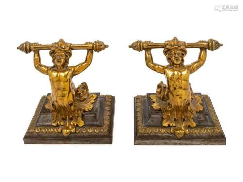 A Pair of Continental Brass Figural Doorstops