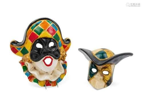 Two Venetian Carnival Masks each in papier mac