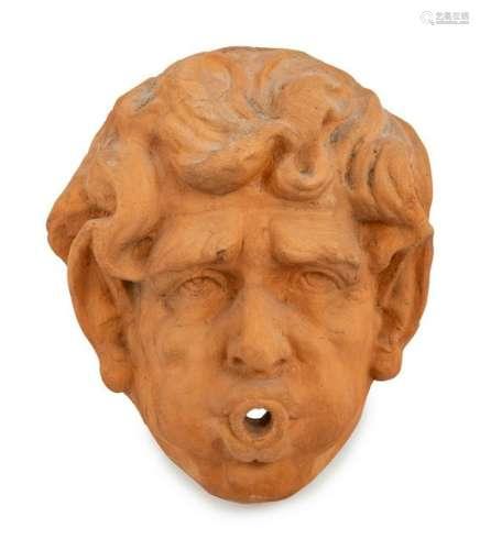 A Terracotta Fountain Mask Height 14 x width 1