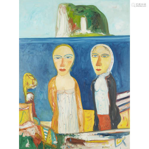 JOHN BELLANY C.B.E., R.A., H.R.S.A. (SCOTTISH 1942-2013) FIGURES WITH THE BASS ROCK Signed,