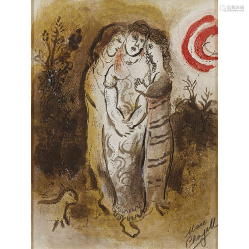 MARC CHAGALL (RUSSIAN 1887-1995) NAOMI AND HER DAUGHTERS-IN-LAW, FROM 'DRAWINGS FOR THE BIBLE' -