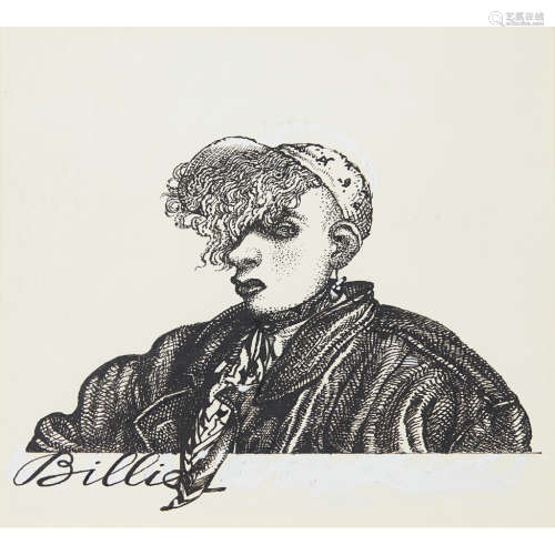 JOHN BYRNE (SCOTTISH B.1940) YOUR CHEATIN' HEART - BILLIE MCPHAIL Pen on scraperboard 15cm x