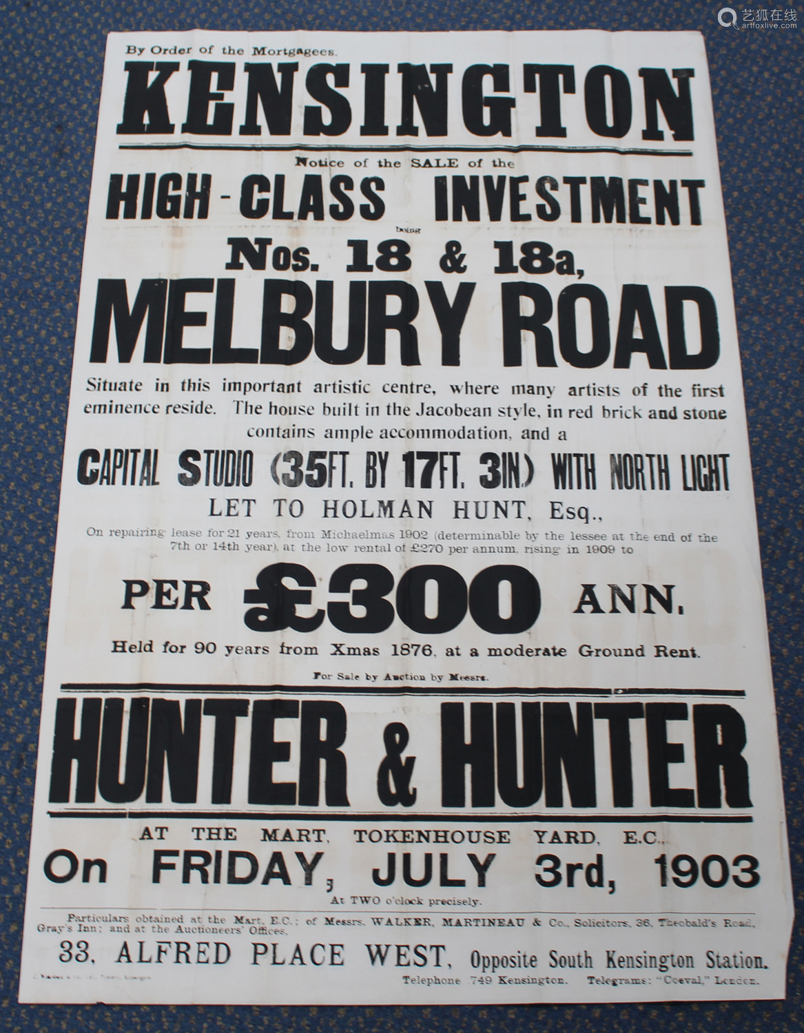 Wakeham & Co (printers) - 'Notice of the Sale of the High-Class Investment Nos. 18 & 18a, Melbury