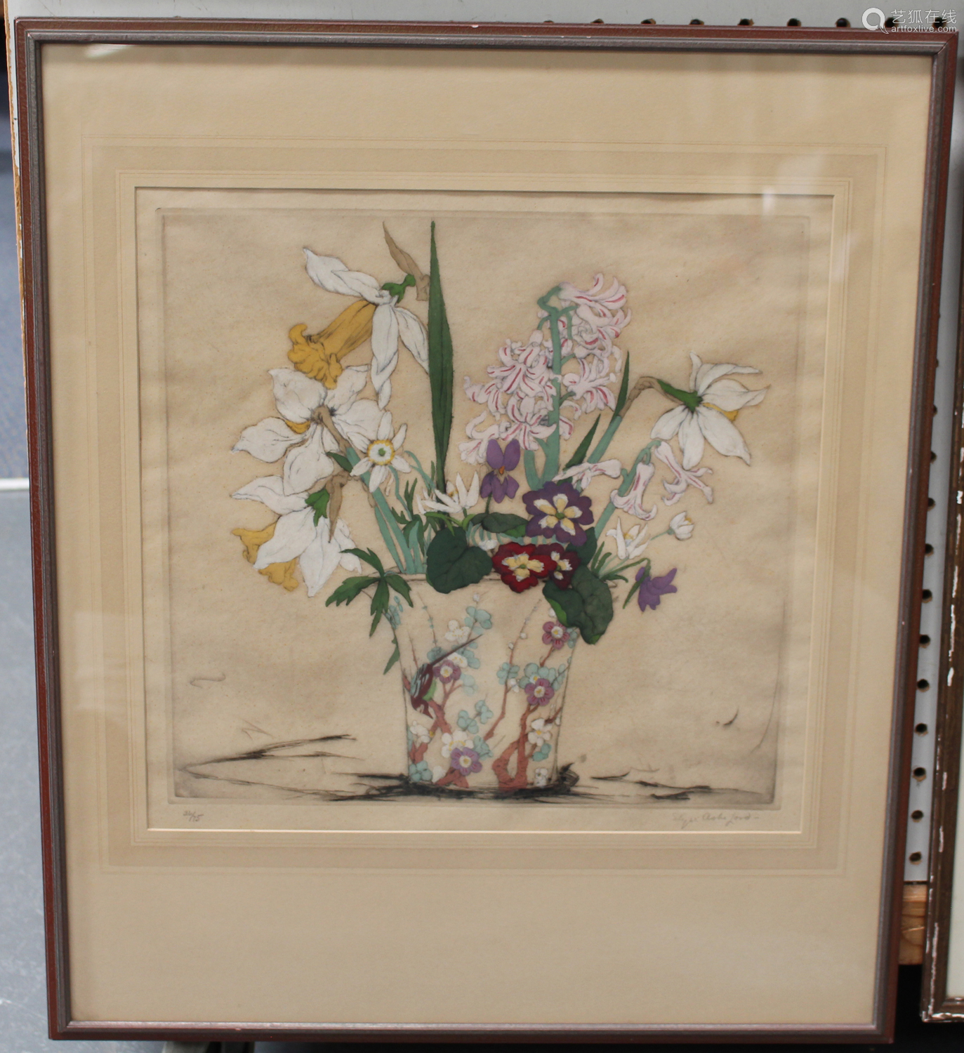 Elyse Ashe Lord - Spring Flowers in a Chinese Vase, early 20th century etching with hand-