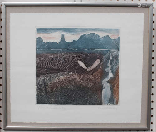Robert R. Greenhalf - 'Norfolk Barn Owl', 20th century colour etching with aquatint, signed,