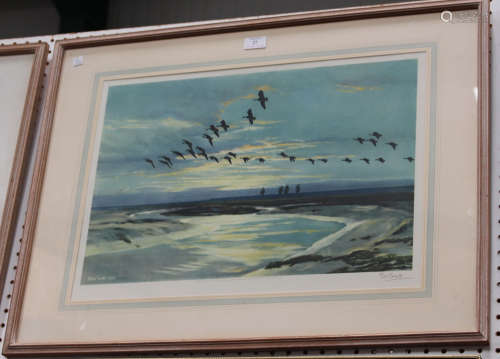 Peter Scott - 'The Wash at Dawn, Pinkfeet', colour print, signed in pencil recto, titled label