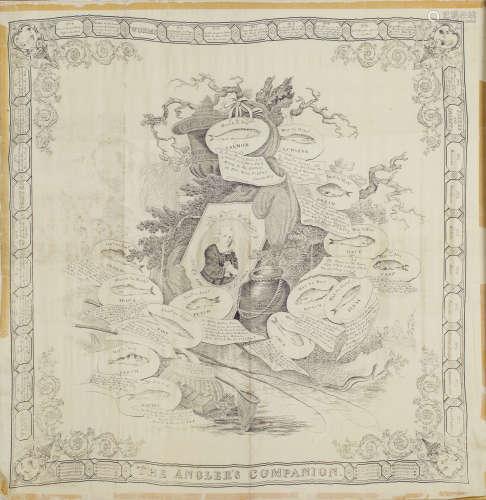 C. Hudson - 'The Angler's Companion', 19th century engraving on silk, circa 1883, 84cm x 82cm,