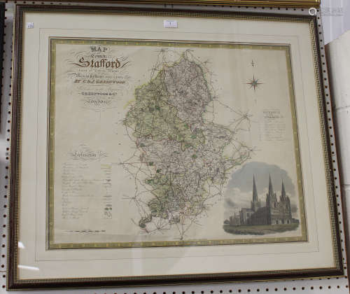 Josiah Neele, after Christopher and John Greenwood - 'Map of the County of Stafford', 19th century