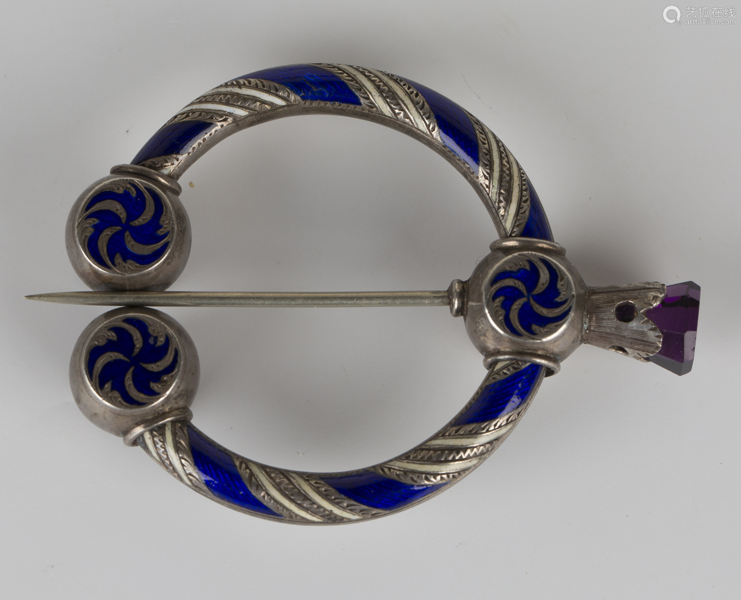 A Victorian silver, blue and white enamelled and coloured foil backed gem set brooch, probably