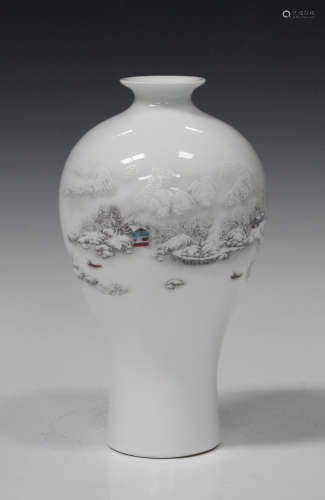 A Chinese porcelain meiping vase, mark of Yongzheng but 20th century, the body enamelled with a
