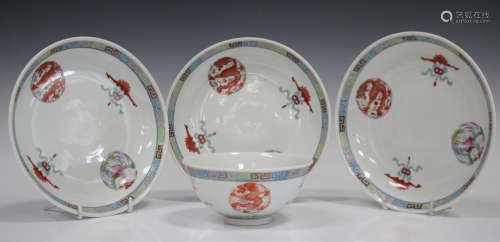 A Chinese famille rose porcelain bowl and three matching saucer dishes, mark of Guangxu but later