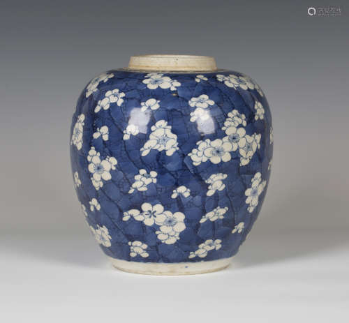 A Chinese blue and white porcelain ginger jar, Kangxi period, of ovoid form, painted with prunus