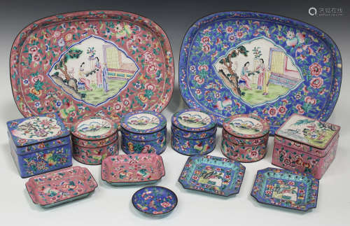A collection of Chinese Canton enamel wares, 20th century, variously painted with figures in