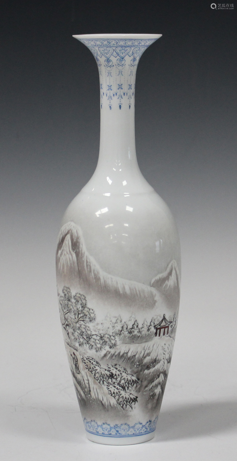 A Chinese eggshell porcelain vase, 20th century, of slender tapering form with flared neck,