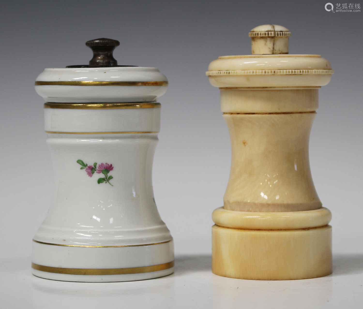 A Meissen porcelain pepper mill, early 20th century, painted with flowers within gilt banding,