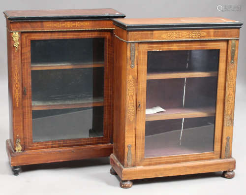 Two late Victorian walnut pier cabinets with inlaid decoration, raised on turned legs, widths 75cm.