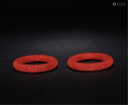 PAIR OF CHINESE CORAL BEAD BANGLES