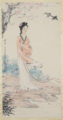 CHINESE SCROLL PAINTING OF BEAUTY UNDER TREE