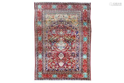 AN ANTIQUE SILK TABRIZ PRAYE RUG, NORTH-WEST PERSIA