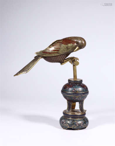 CHINESE CLOISONNE BIRD ON PORCH TABLE ITEM