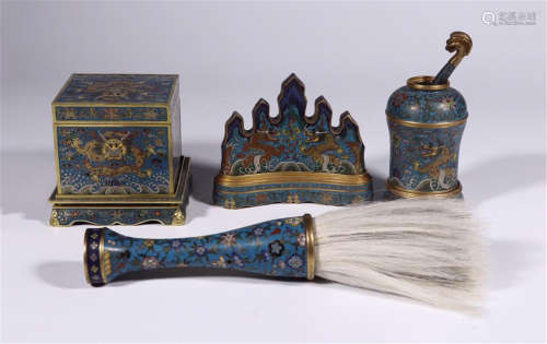 FOUR CHINESE CLOISONNE DRAGON SCHOLAR'S OBJECTS