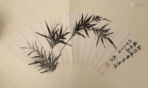 CHINESE FAN PAINTING OF BAMBOO WITH CALLIGRAPHY