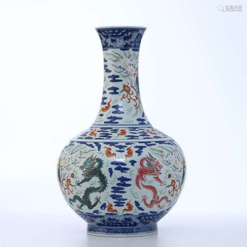 BLUE WHITE FAMILLE ROSE VASE