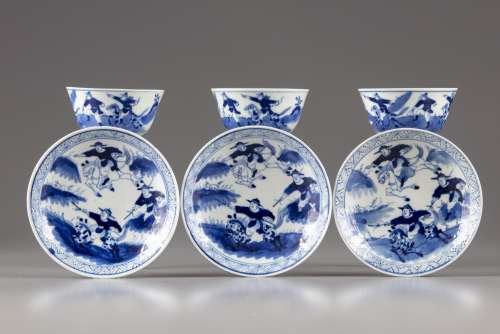 Three Chinese blue and white warriors cups and saucers