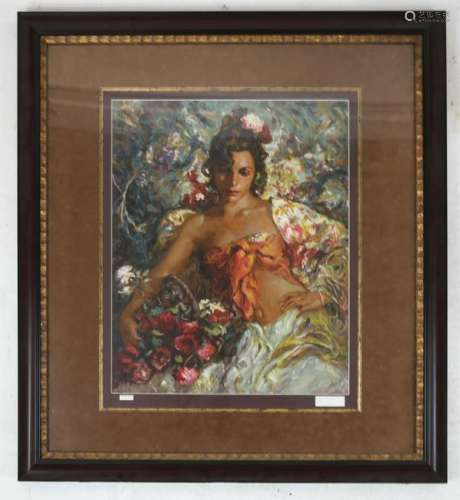 Jose ROYO: Woman With Flowers - Serigraph