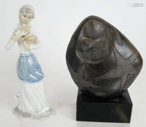 Two Ceramic Figurines - Girl and Abstract