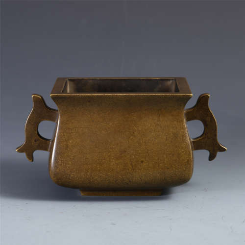 CHINESE BRONZE HANDLED SQUARE CENSER