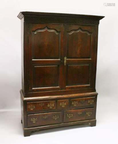 AN 18TH CENTURY OAK BACON CUPBOARD, with a moulded