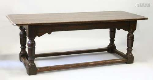 AN 18TH CENTURY STYLE OAK REFECTORY TABLE, with cleated