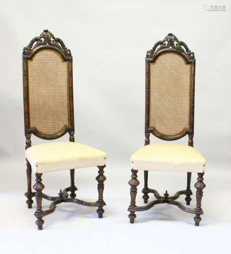 A PAIR OF DUTCH STYLE WALNUT HIGH BACK CHAIR, LATE 19TH