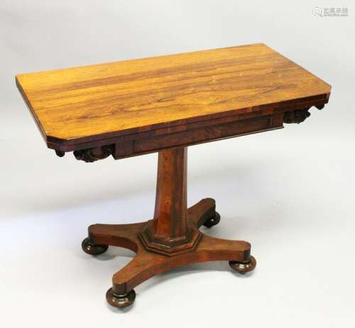 A WILLIAM IV ROSEWOOD CARD TABLE, the fold-over top