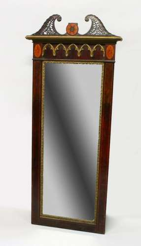 A 19TH CENTURY MAHOGANY AND INLAID DRESSING MIRROR,