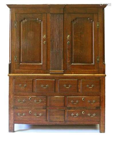 A 19TH CENTURY OAK HOUSEKEEPERS CUPBOARD, with a