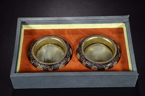 CHENXIANG WOOD WITH GOLD INALID BANGLE IN PAIR