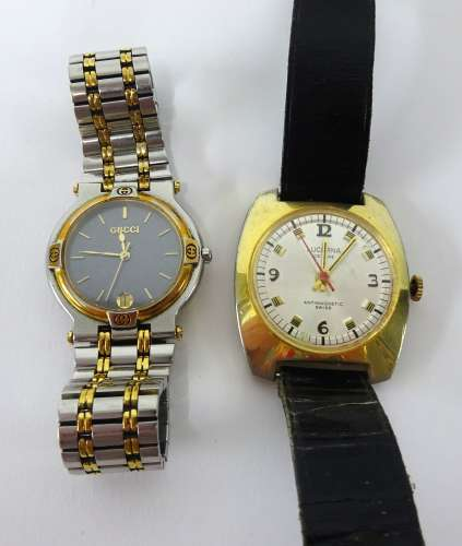 A Gucci ladies wristwatch together with a Lucbrina anti magnetic gents watch (2).