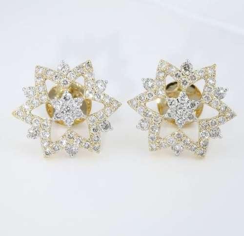 14 K / 585 Yellow Gold IGI Certified Diamond Earrings