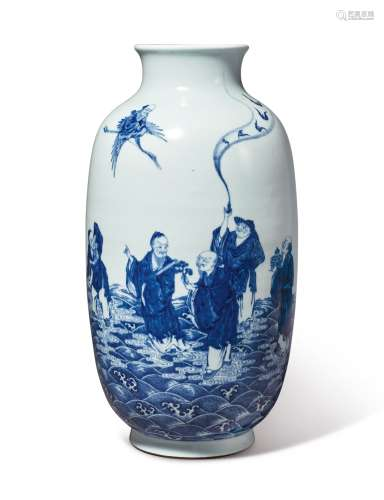 A LARGE AND EXTREMELY RARE BLUE AND WHITE 'IMMORTALS' VASE QIANLONG SEAL MARK AND PERIOD