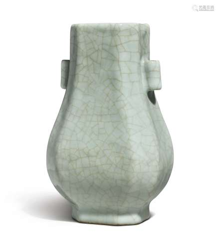 A GUAN-TYPE FACETED VASE (HU) QIANLONG SEAL MARK AND PERIOD