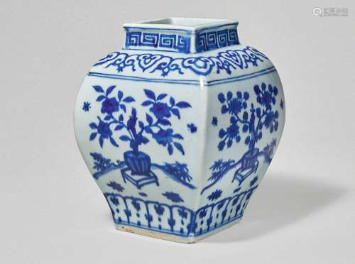 A RARE BLUE AND WHITE SQUARE-FORM 'FLORAL' JAR JIAJING MARK AND PERIOD