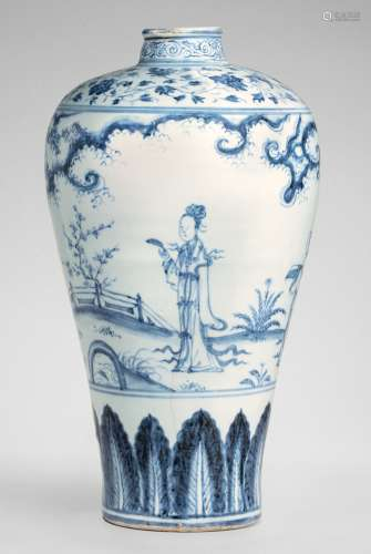 A LARGE AND SUPERBLY PAINTED BLUE AND WHITE 'WINDSWEPT' MEIPING MING DYNASTY, MID-15TH CENTURY