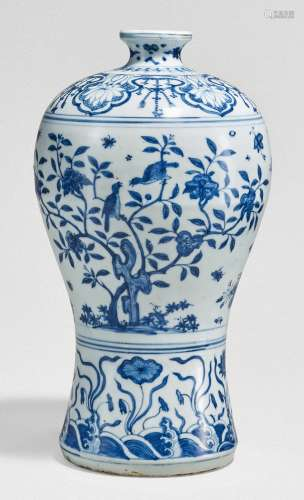 A RARE AND FINELY PAINTED BLUE AND WHITE MEIPING MING DYNASTY,16TH CENTURY