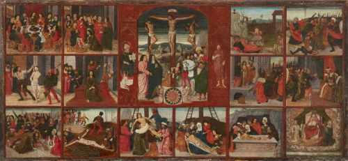 Deutscher Meister um 150015 Szenen aus der Passion ChristiÖl auf Holz. 30,5 x 65,5 cm.German School,